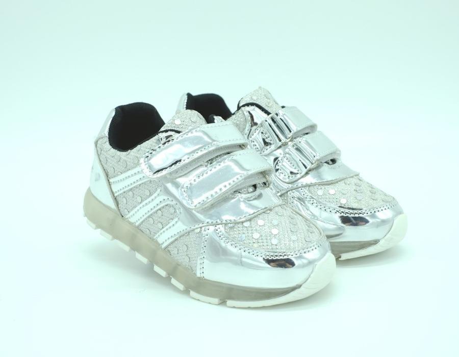 334ceb45 Кроссовки Шалунишка для девочек серебряные мигающие 21 - 23 размера ...